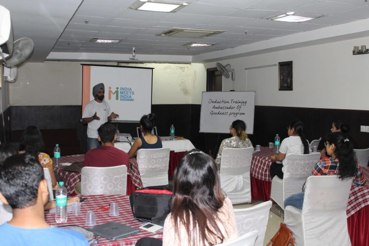 Manmeet Singh, CEO & Founder, India Meets India, delivering speech at the Induction Training Program