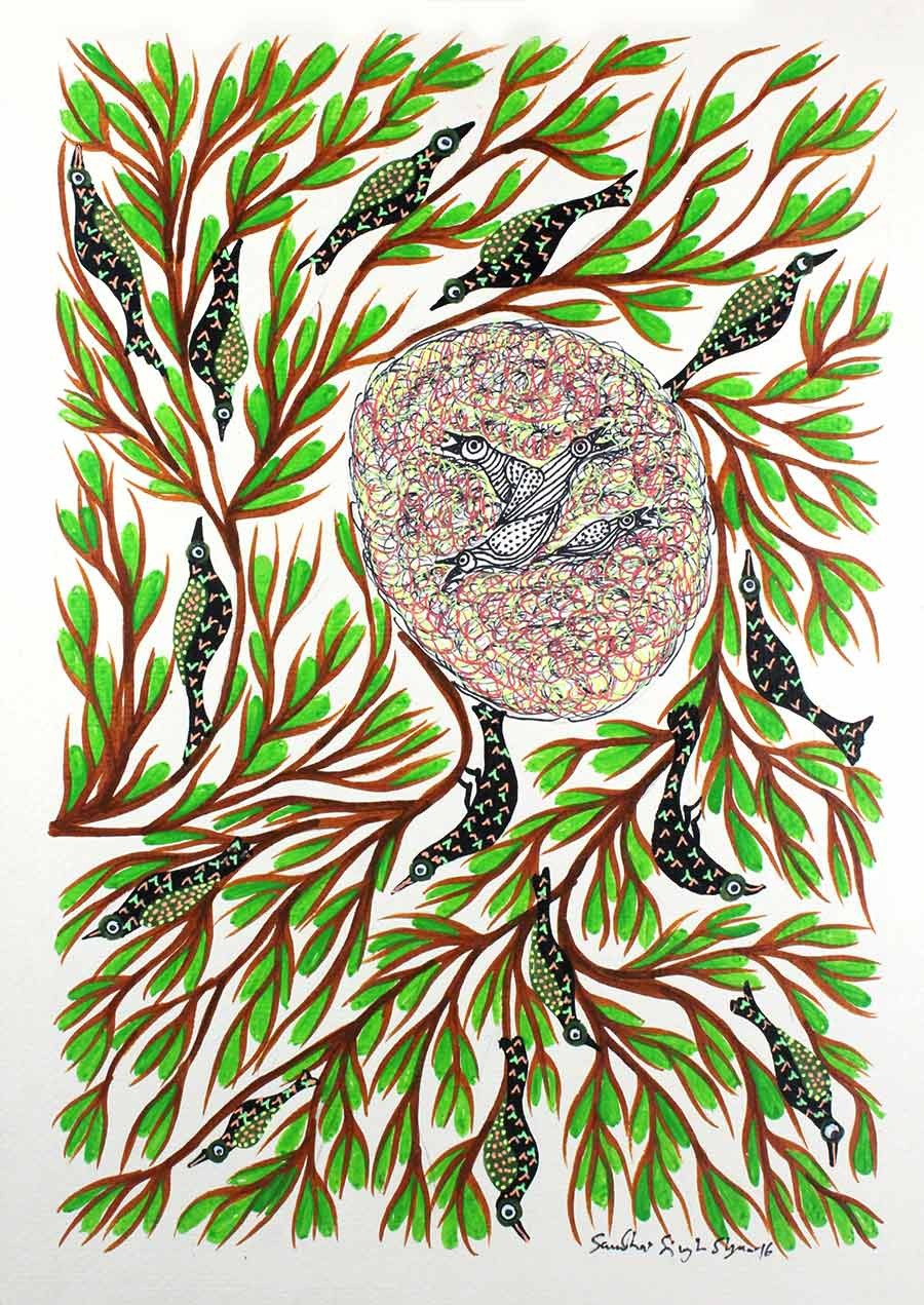 Beautiful Green Birds on Tree Gond Wall Hanging by Tribal Artist from MP
