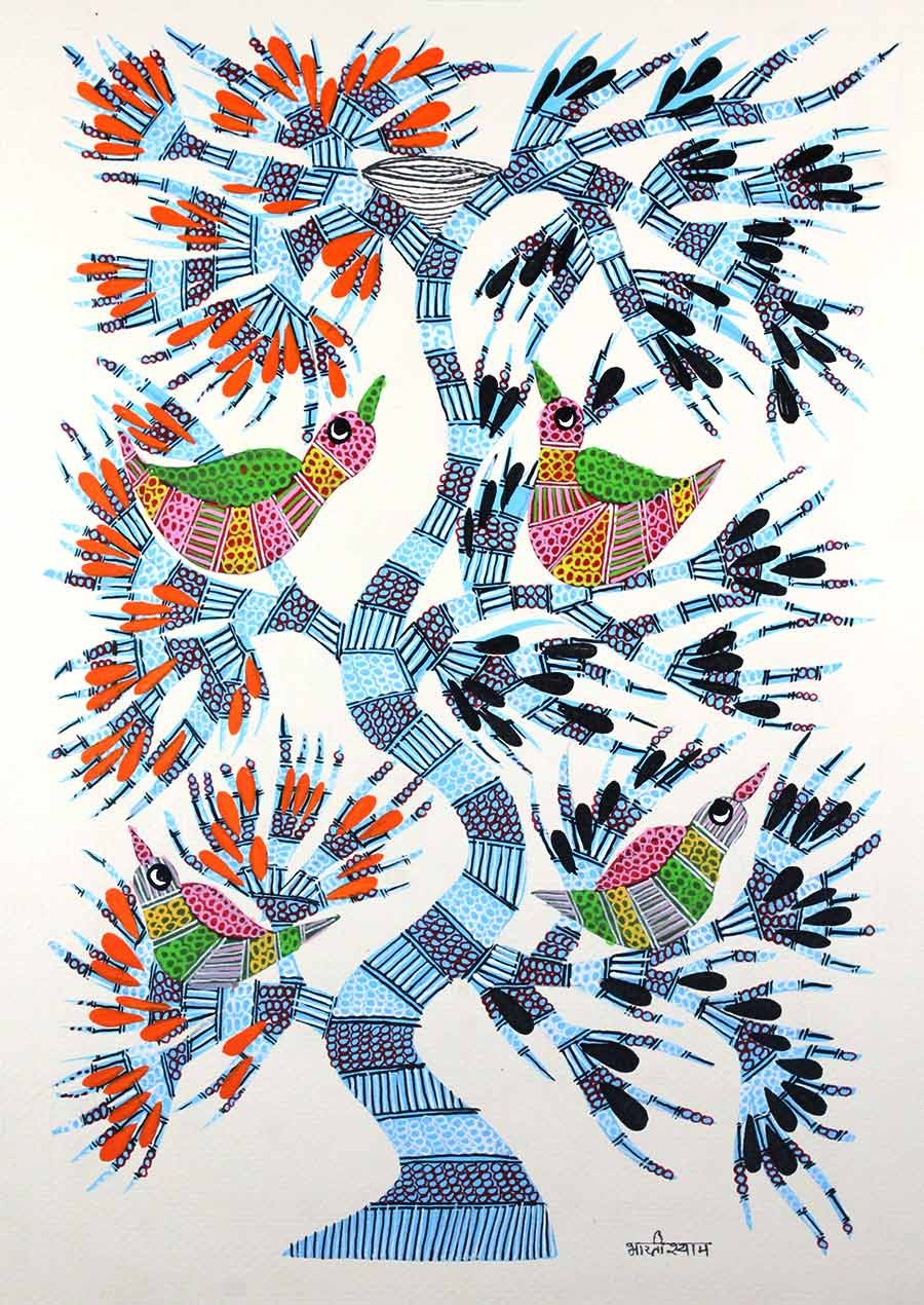 Handmade Nesting Tree Gond Wall Hanging by Tribal Artist from MP
