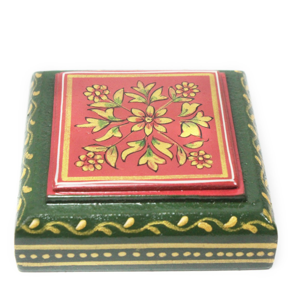 Exclusive Wooden Green paper weight With ancient mughal art painting by Rural Artisans