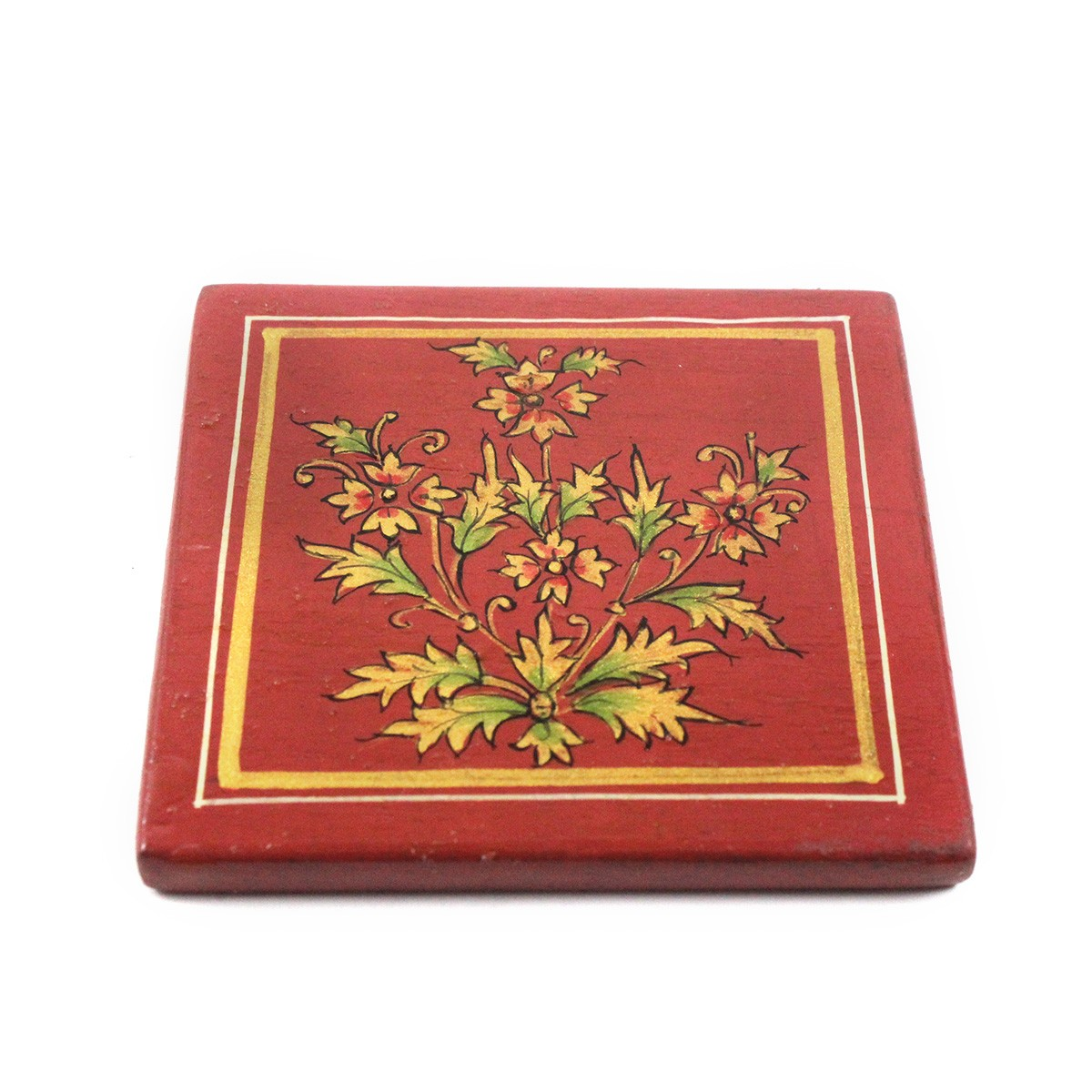 Exclusive Wooden Coaster Set Metal Inlay Art For Gifting by Rural Artisans