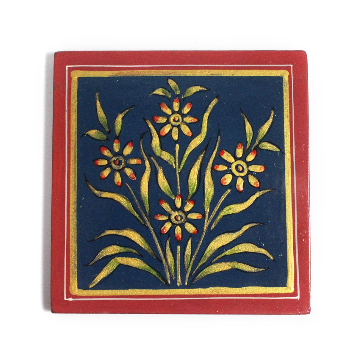 Exclusive Wooden Blue Coaster Set Metal Inlay Art For Gifting by Rural Artisans