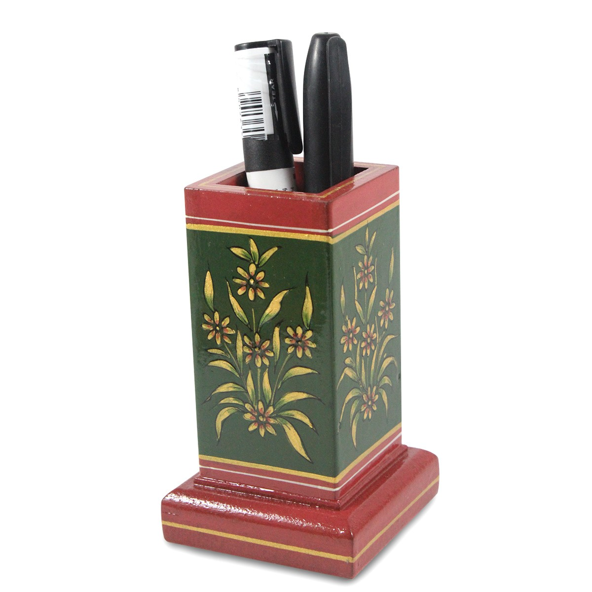 Exclusive Wooden Green Pen Stand With Metal Inlay For Gifting by Rural Artisans
