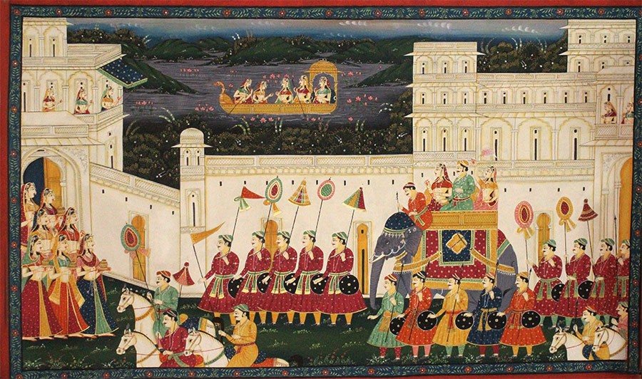 Handmade Victory Procession Mughal Art By Awarded Rajasthani Artist
