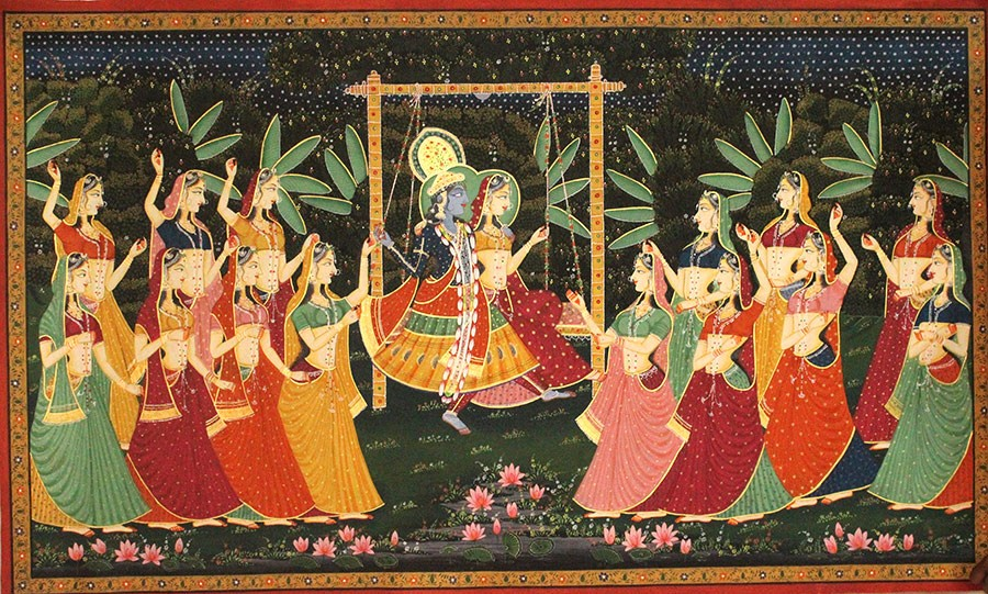 Multicolor Lord Krishna And Radha Mughal Art By Awarded Rajasthani Artist