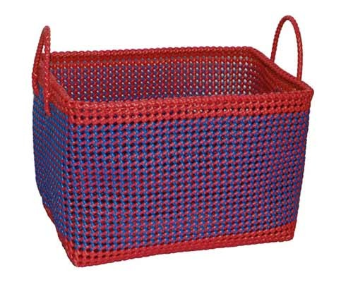 Buy Handmade Blue Red Recycled Strong Laundry Basket India Meets India