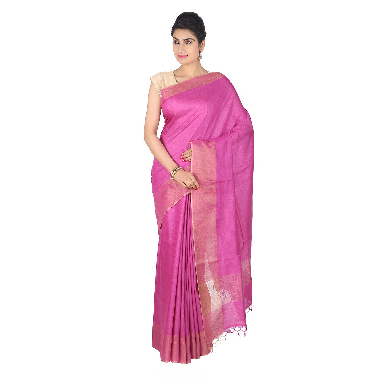 Handmade Pink Munga Tussar Silk Saree by Weavers of Bihar