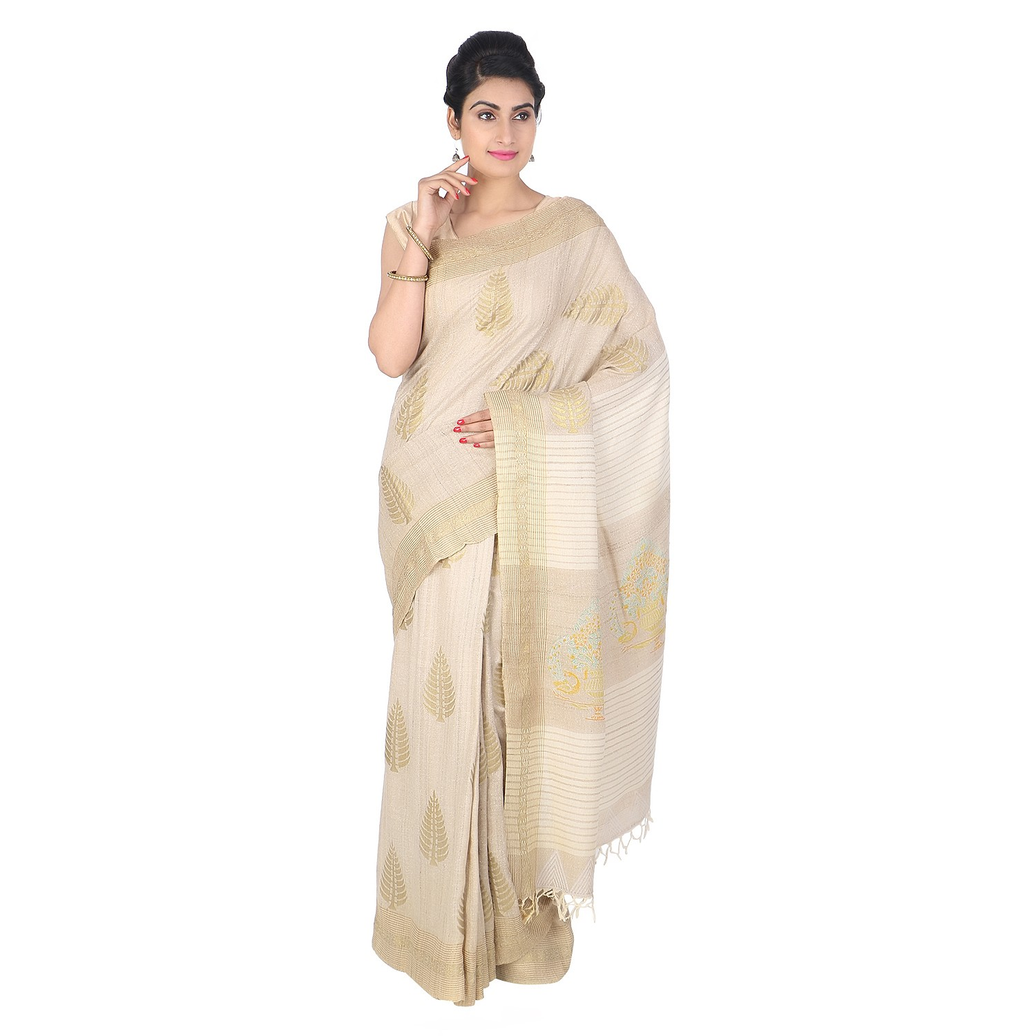 134ad20924634 Buy Authentic Cream Handmade Matka Tussar Silk Designer Saree-India Meets  India