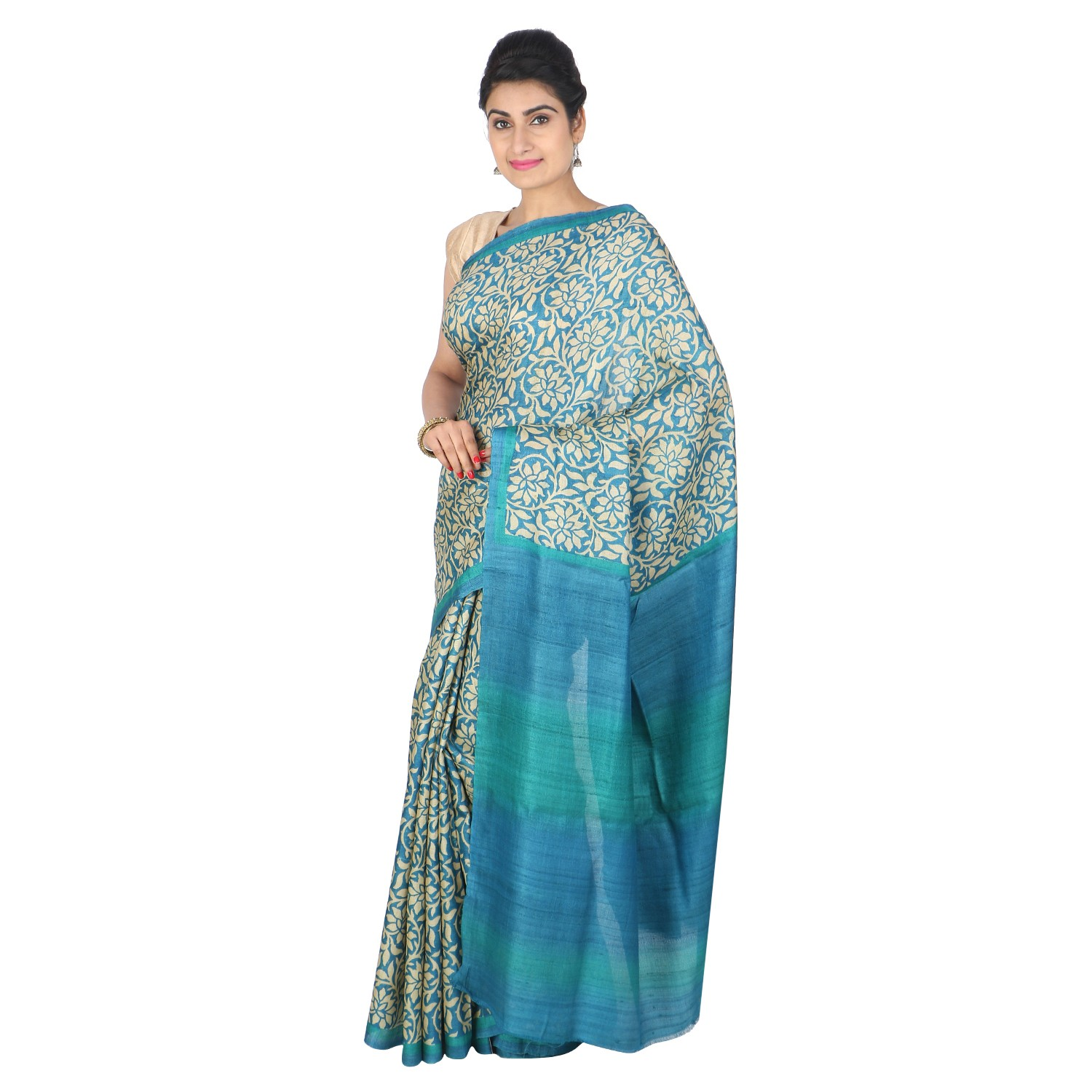 Handmade Blue And Green Tussar Silk Saree by Weavers of Bihar