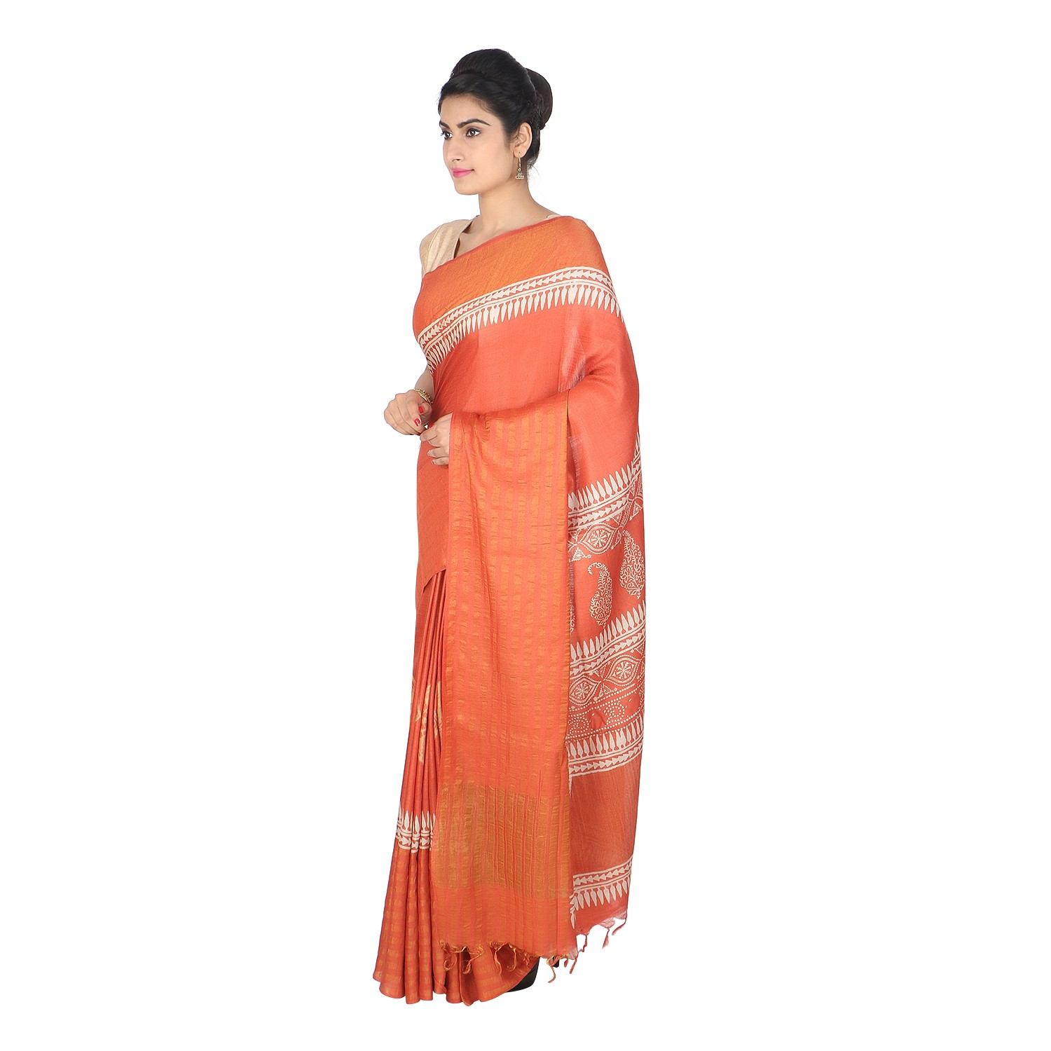 Handmade Orange Munga Tussar Silk Saree by Weavers of Bihar