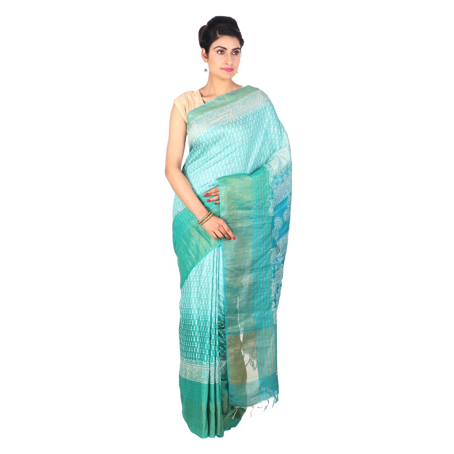 Handmade Green And Blue Munga Tussar Silk Saree by Weavers of Bihar