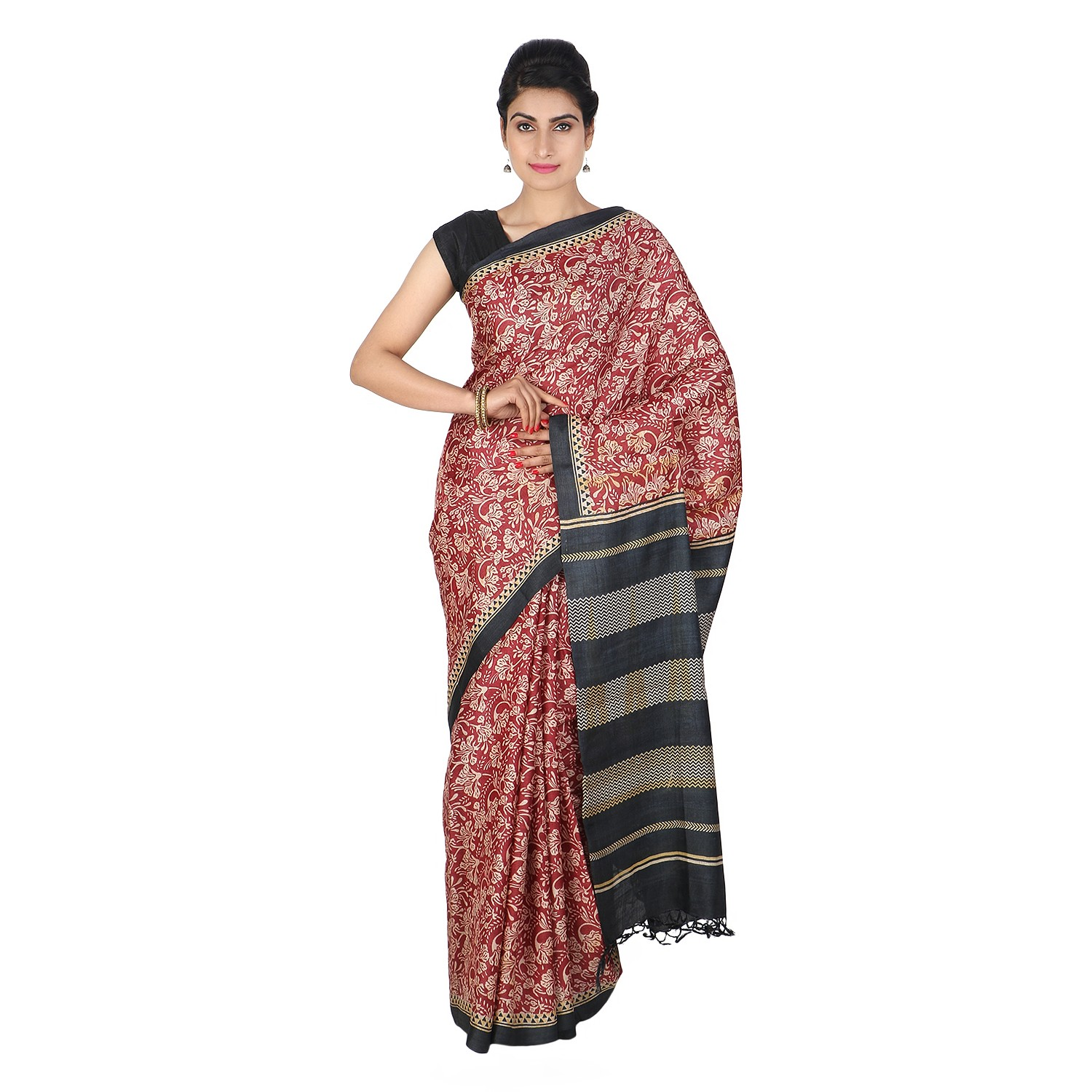 Handmade Red And Black Tussar Silk Saree by Weavers of Bihar