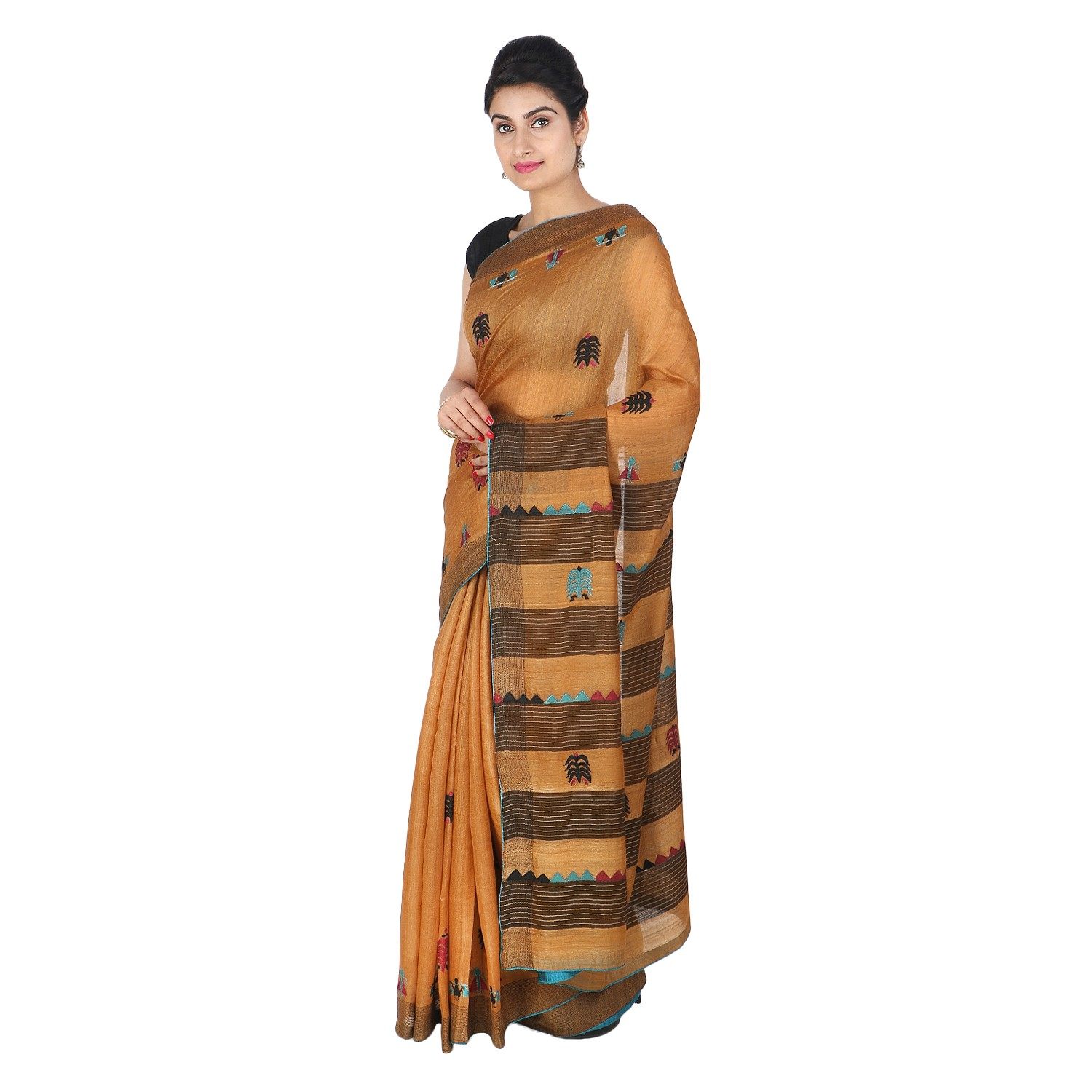 Handmade Orange Tussar Silk Patch Work Saree by Weavers of Bihar