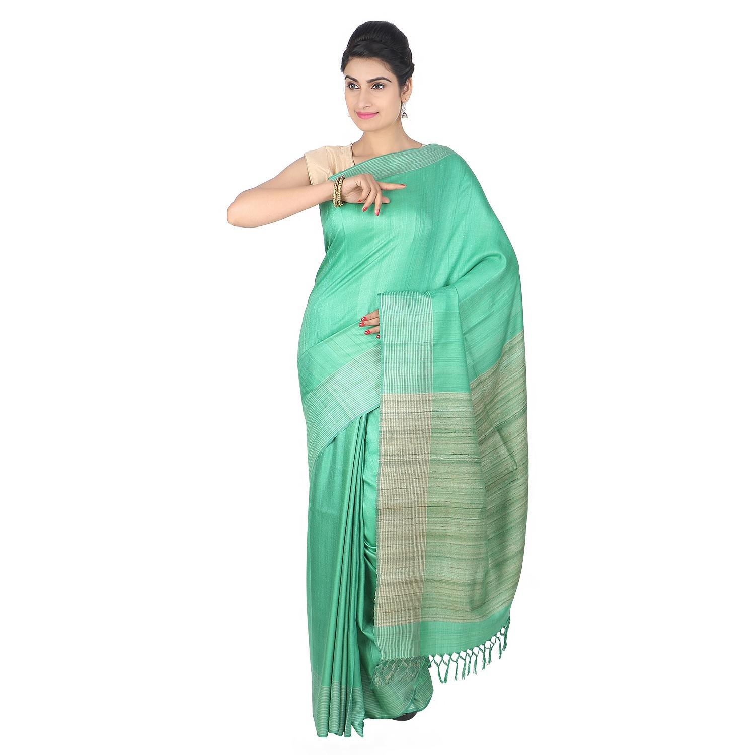 Handmade Green Tussar Silk Saree by Weavers of Bihar