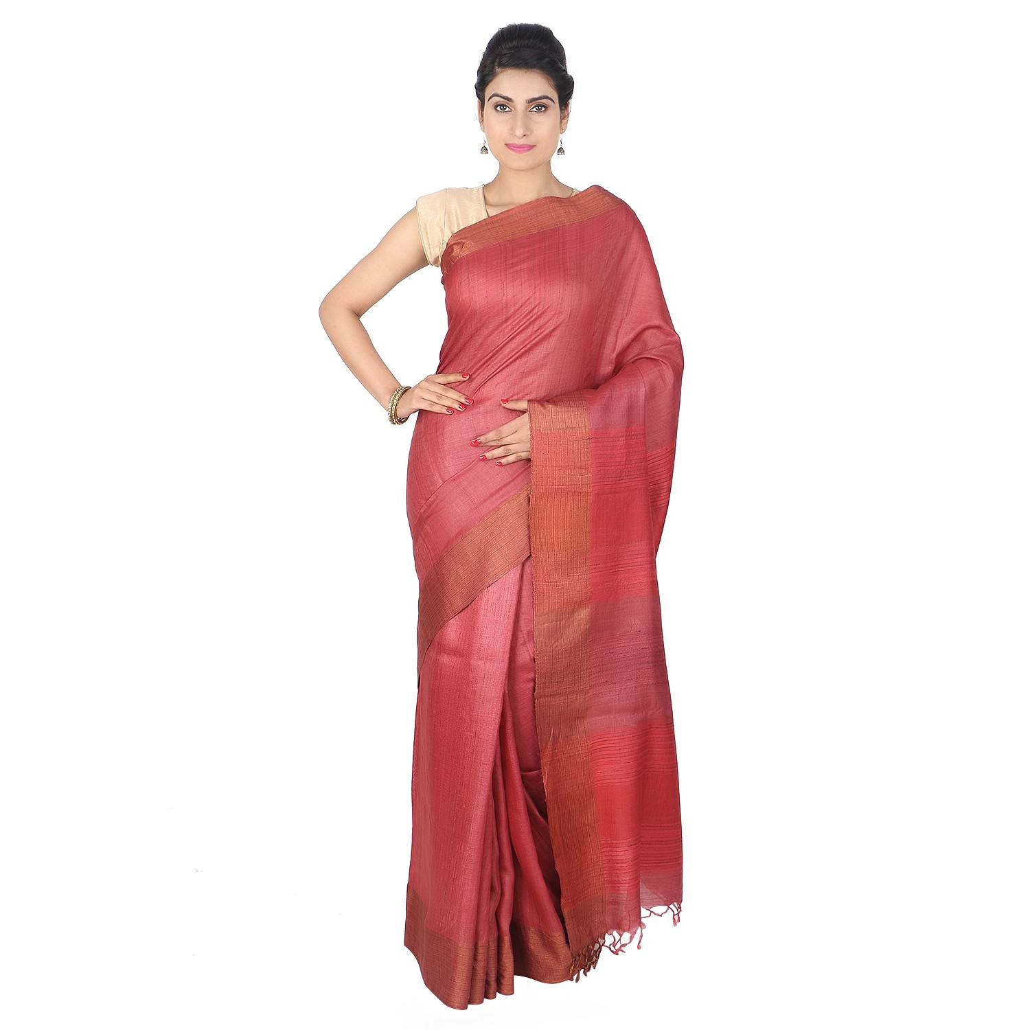 Handmade Red Eri Desi Tussar Silk Kantha Work Saree by Weavers of Bihar