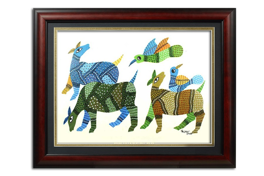 Buffalos With Sparrows Multicolored Gond Painting by Rural Artists from Madhya Pradesh