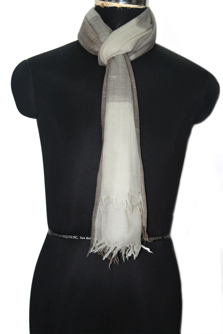 Grey White Angora Fine Wool Women's Stole by Weavers from Kashmir