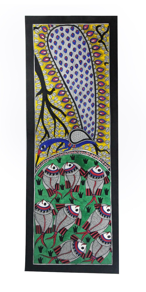 Exclusive Fish And Peacock Madhubani Wall Hanging by Artist from Bihar