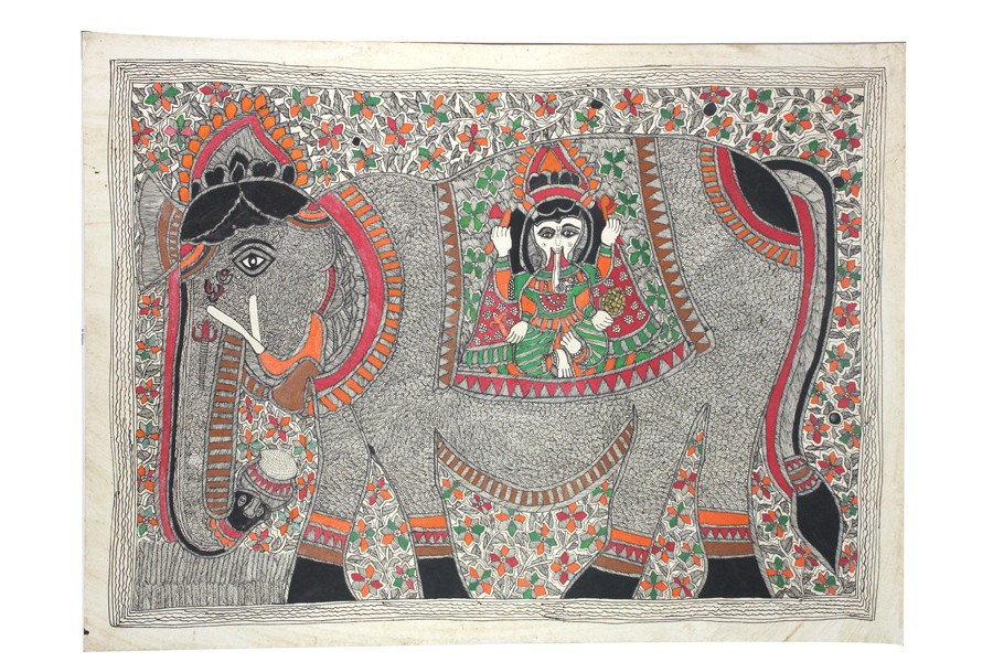 Handmade Tamed Elephant Madhubani Wall Hanging by Artist from Bihar