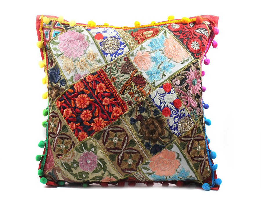 Exclusive Multicolor Large Ethnic Cushion Cover by Artisans of Gujarat