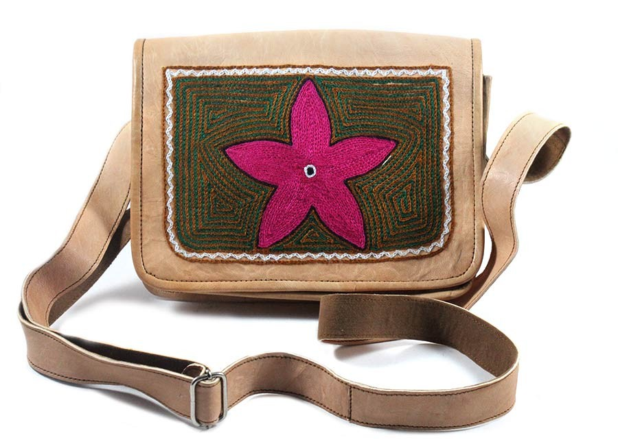 Exclusive Ethnic Leather Embroidered Sling Bag by Artisans from Rajasthan