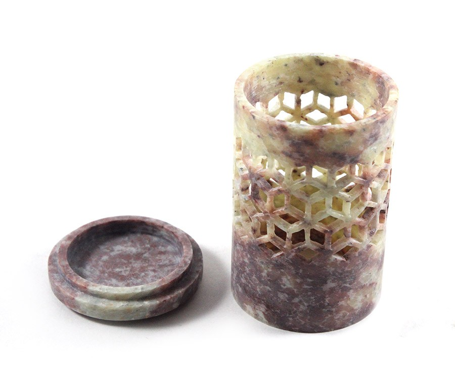 Beautiful Two Color Stone Carved Tea Light Holder by Artisans from Agra