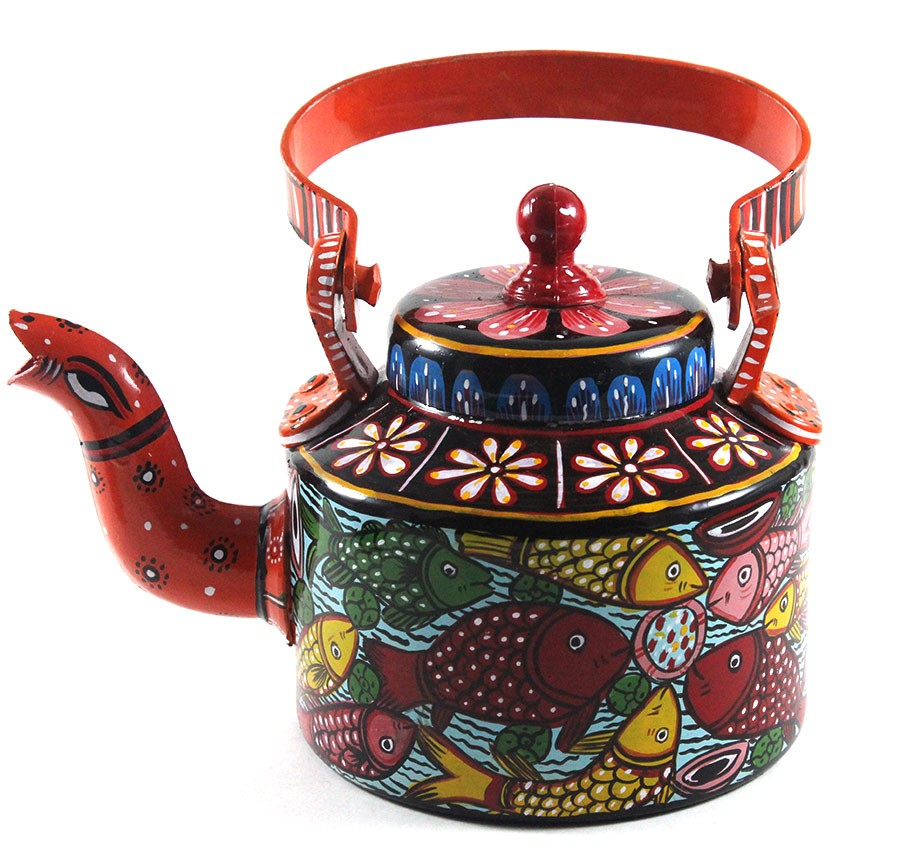 Ethnic Serving Kettle with Patachitra Painting by Artisans from West Bengal
