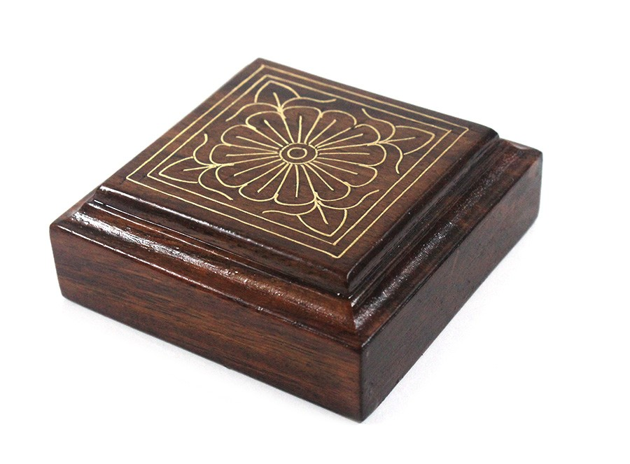 Classy Wooden Paper Weight With Metal Inlay For Gifting by Rural Artisans