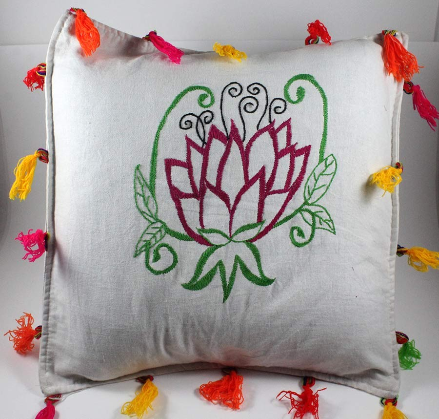Designer Green & Red Hand Embroidered Cushion Cover by Women SHGs
