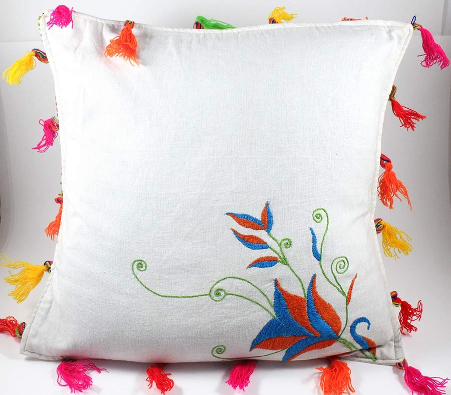 Designer Red & Blue Hand Embroidered Cushion Cover by Women SHGs