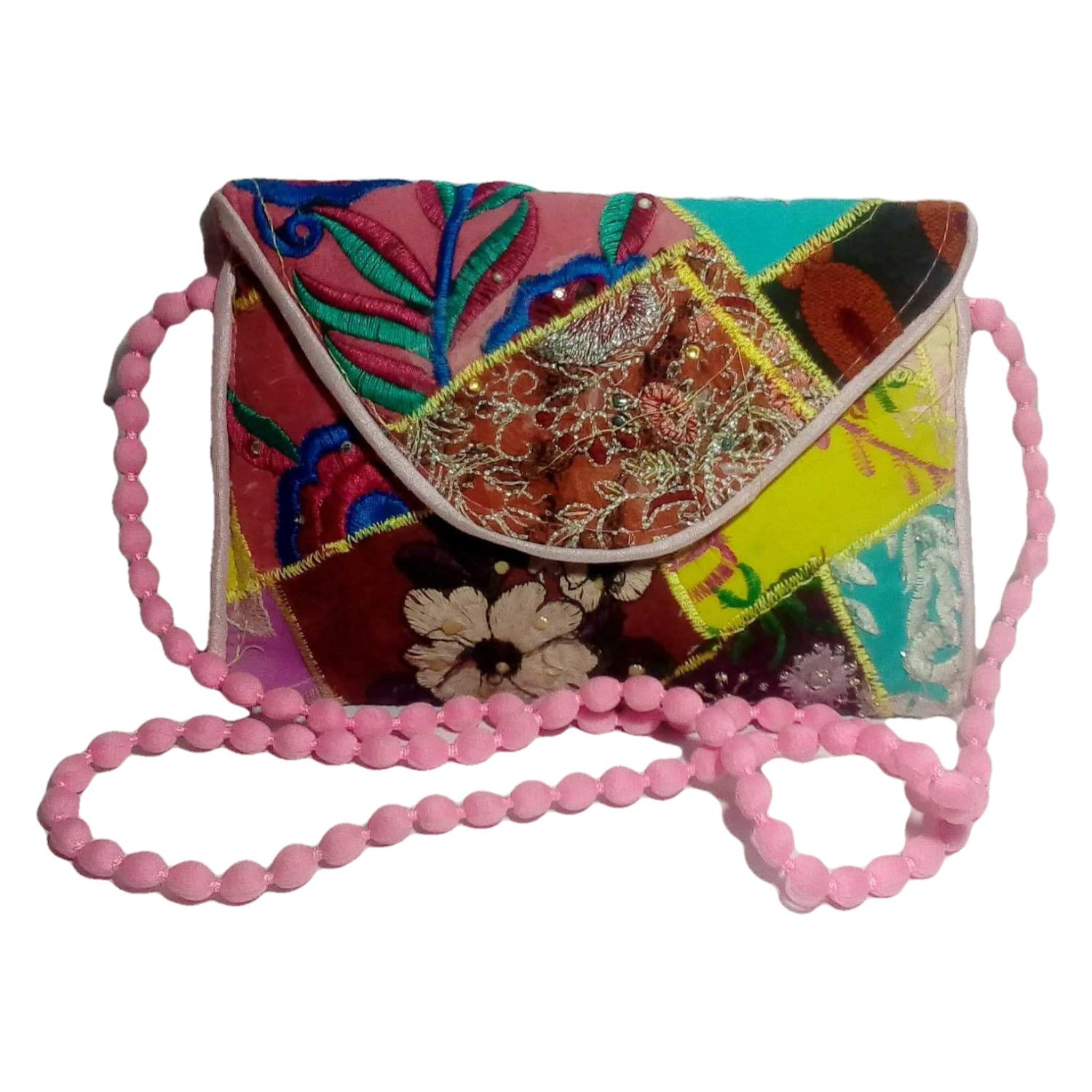 Handmade Excellent Pink Genuine Sling Bag with embroidery work  by Women Self Help Groups of Rajasthan