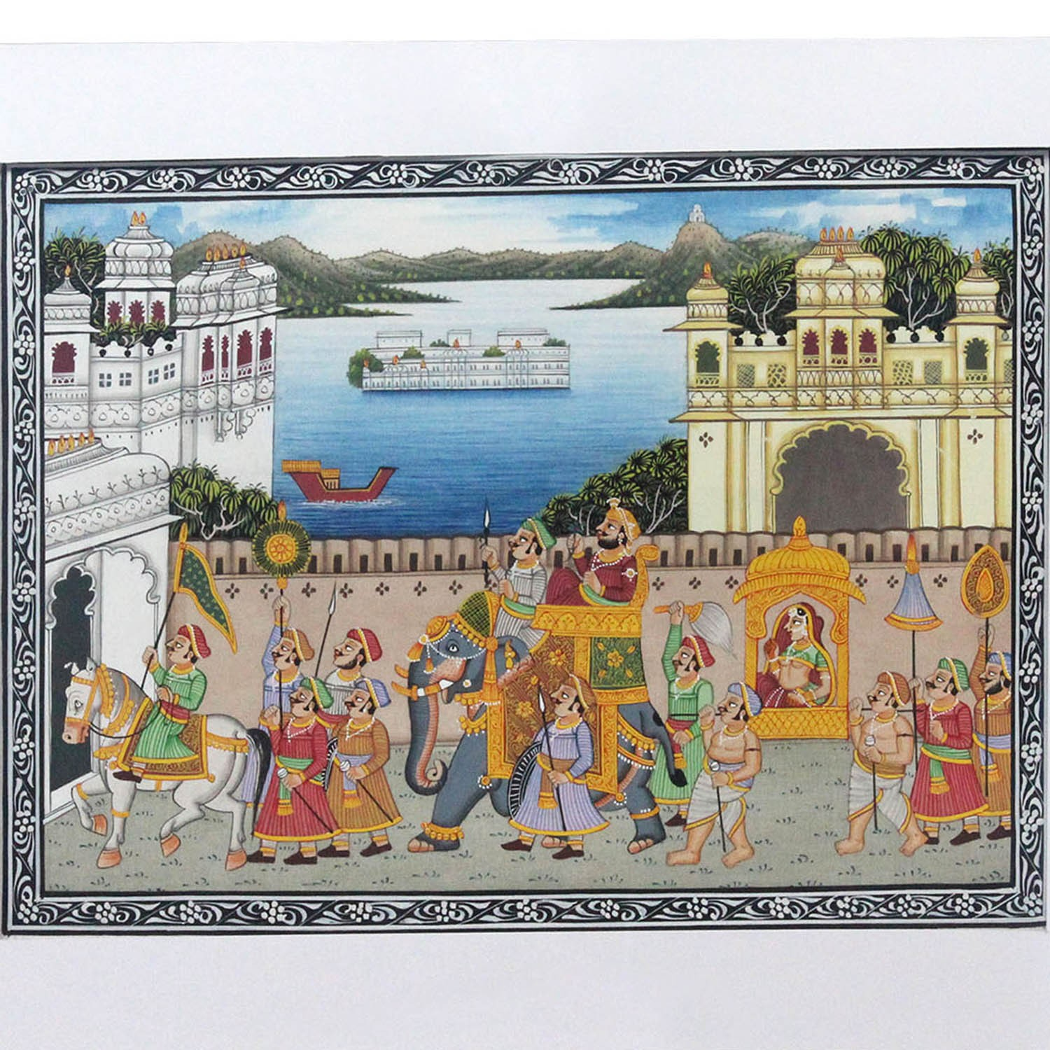 Miniature Painting (Udaipur place procession)