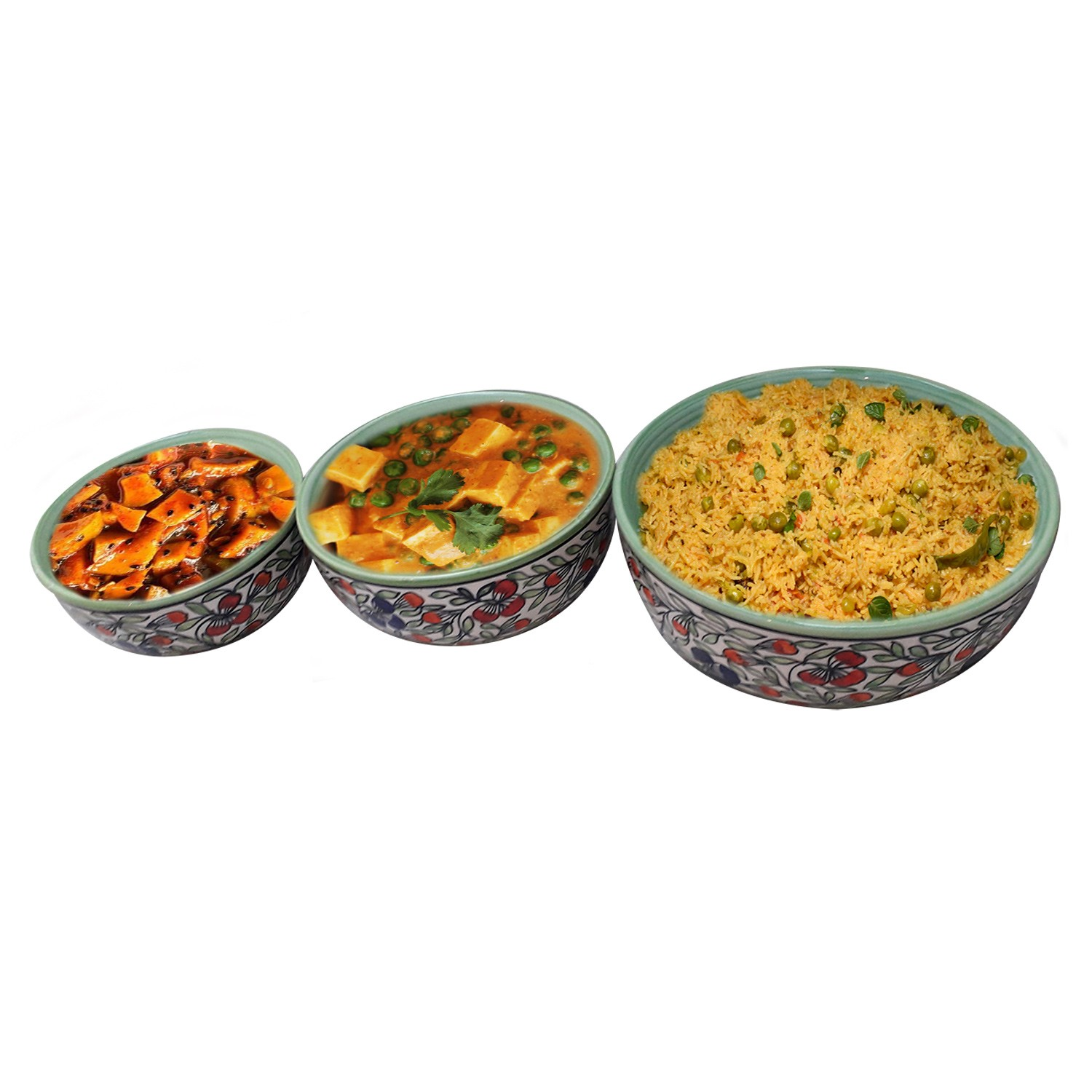 Exclusive Handmade Khurja Pottery Multicolor Set of 3 serving bowls by Awarded Artisans
