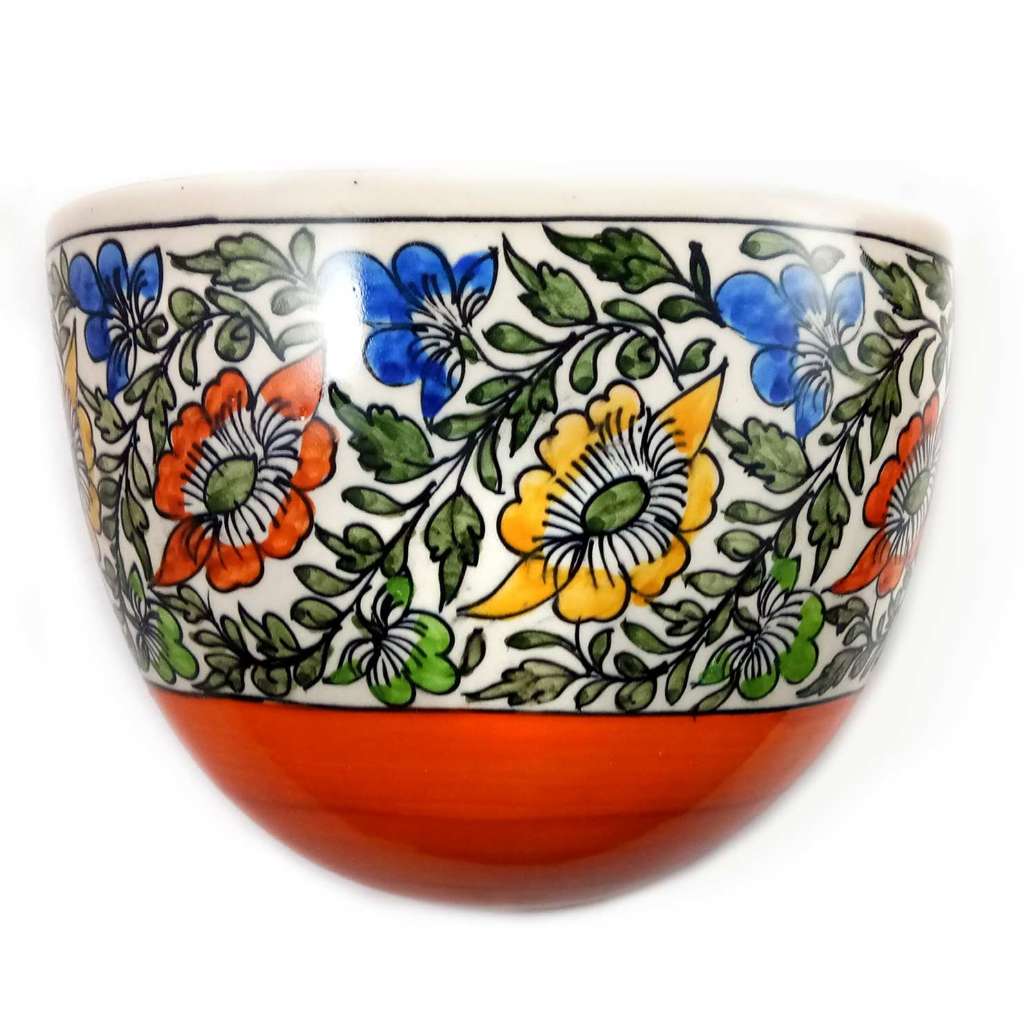 Handmade Orange with Multicolor Flower Painting  Khurja Wall Vase by awarded artisans from UP