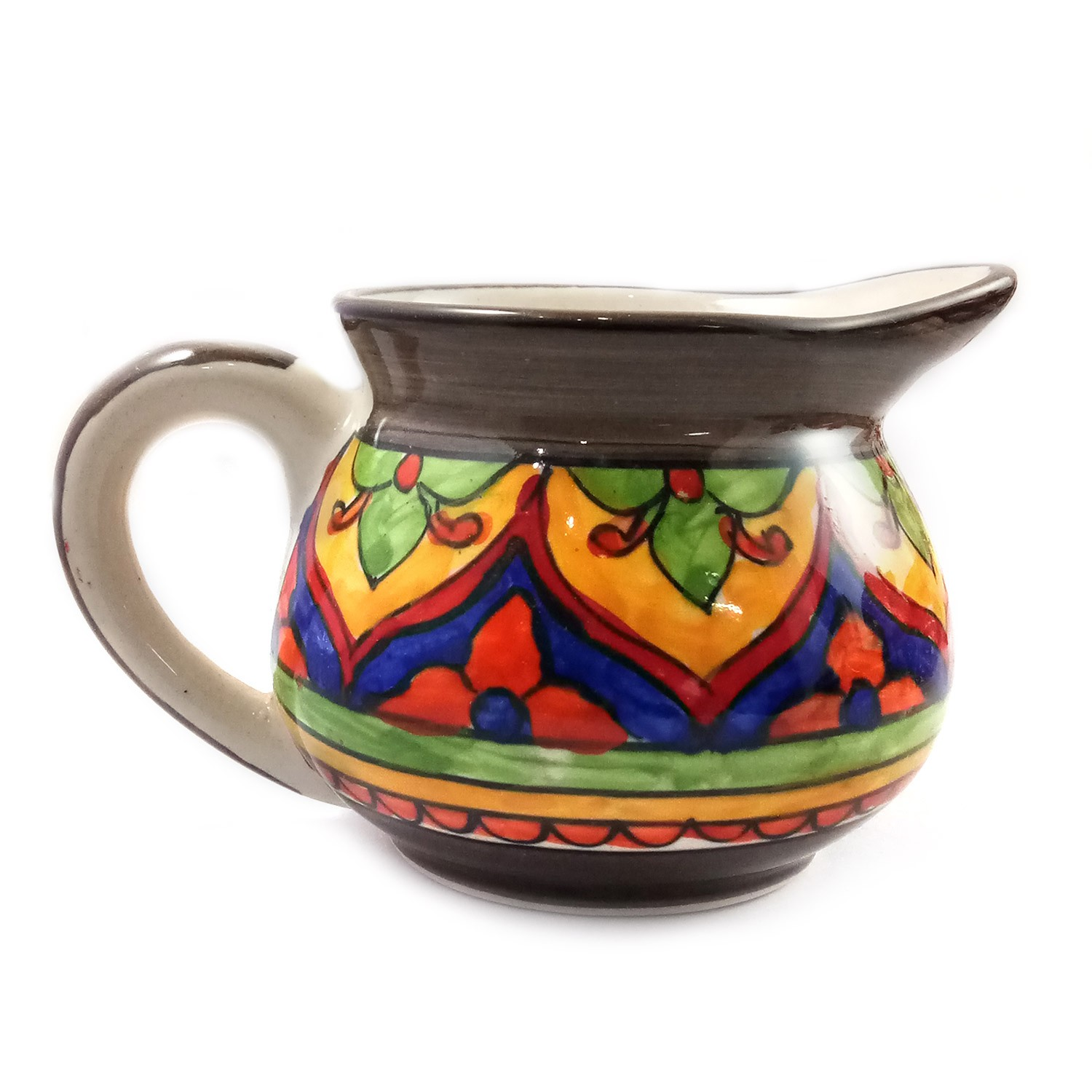 Handmade Brown with Multicolor Flower Painting Teapot by awarded artisans from UP