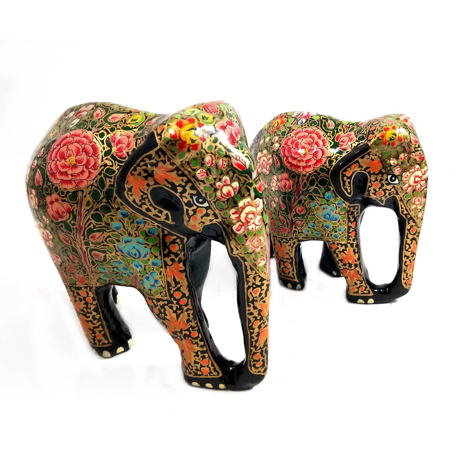 Handmade exclusive paper mache multicolor Decorative Elephant Set Of 2 By Rural Artisan.
