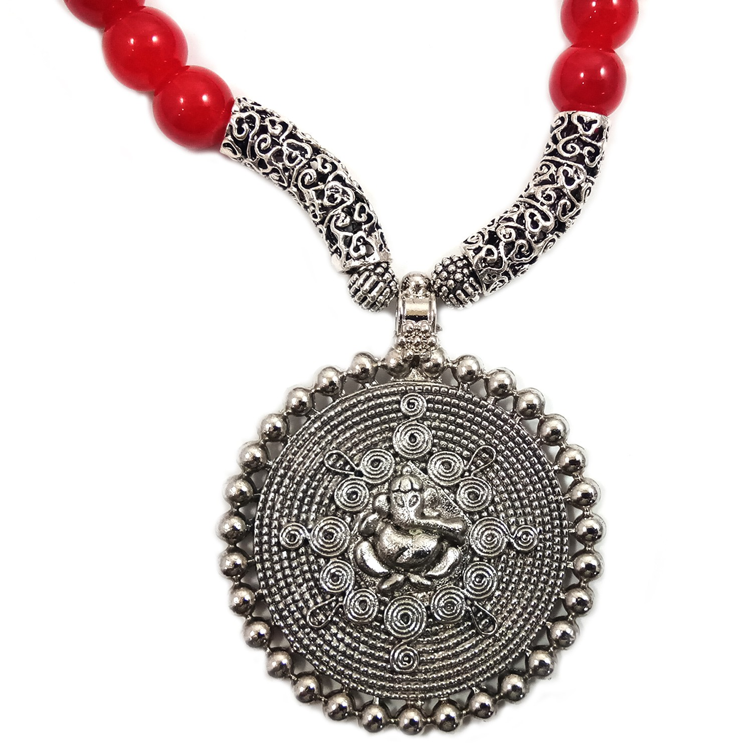 Handmade Costume Fashion Jewelry Red/Silver  Necklace & Earrings (NER) by Women Groups