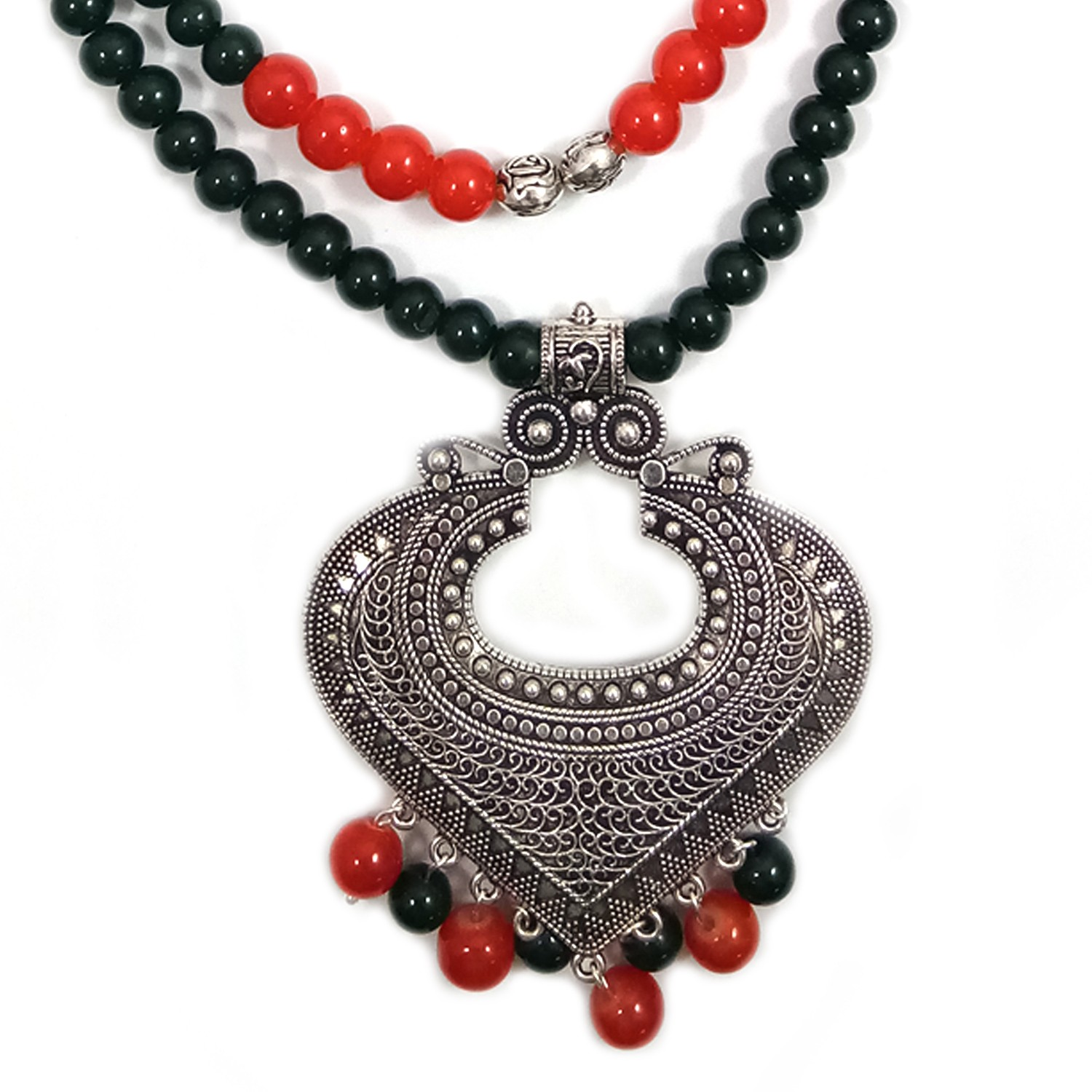 Handmade Costume Fashion Jewelry Red/Black/Silver  Necklace & Earrings (NER) by Women Groups