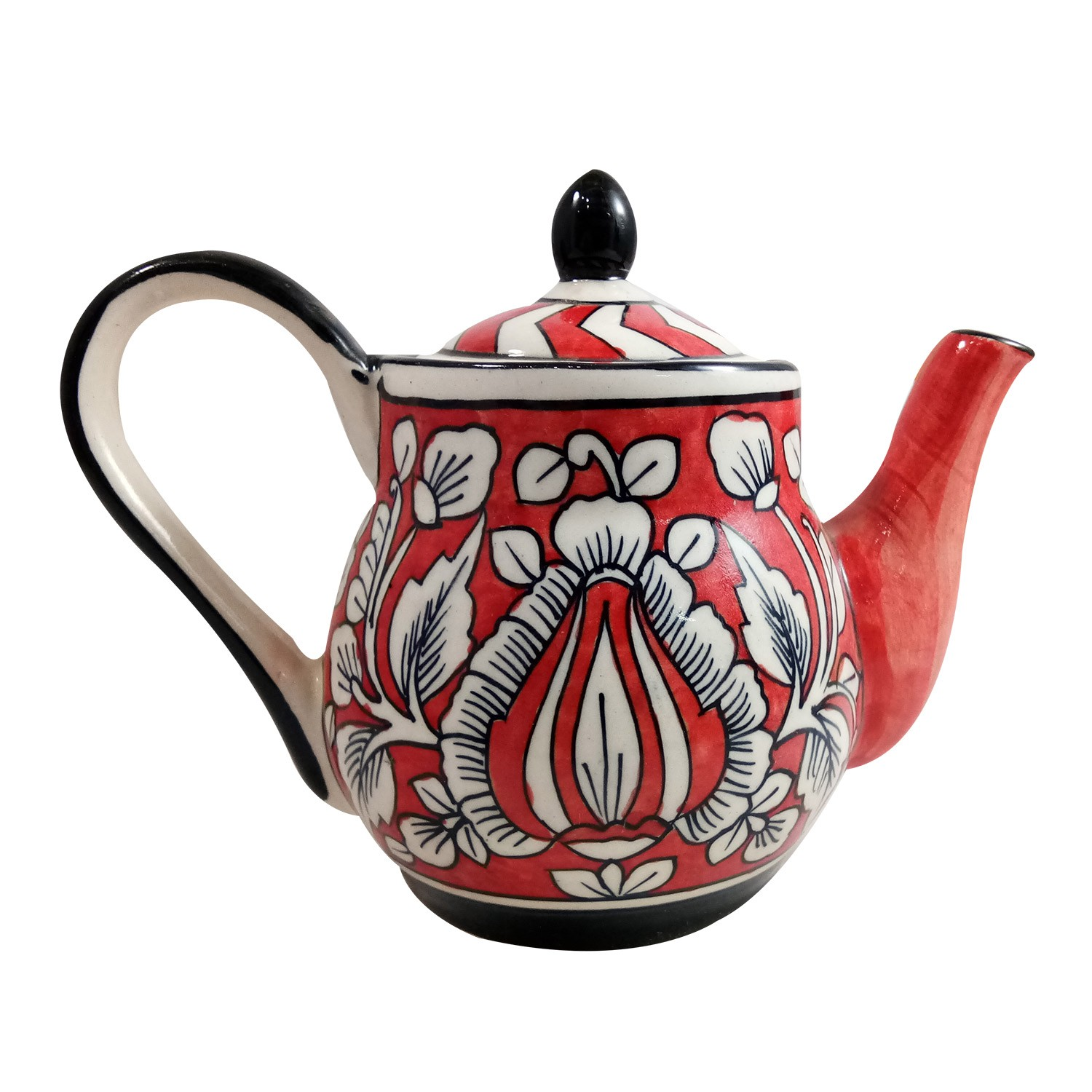 Exclusive Handmade Khurja Pottery Red, White & Black kettle by Awarded Artisans