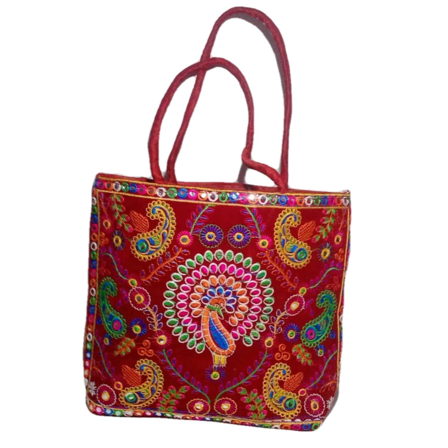Handmade Excellent Red Genuine Shoulder Bag  with embroidery work  by Women Self Help Groups of Rajasthan