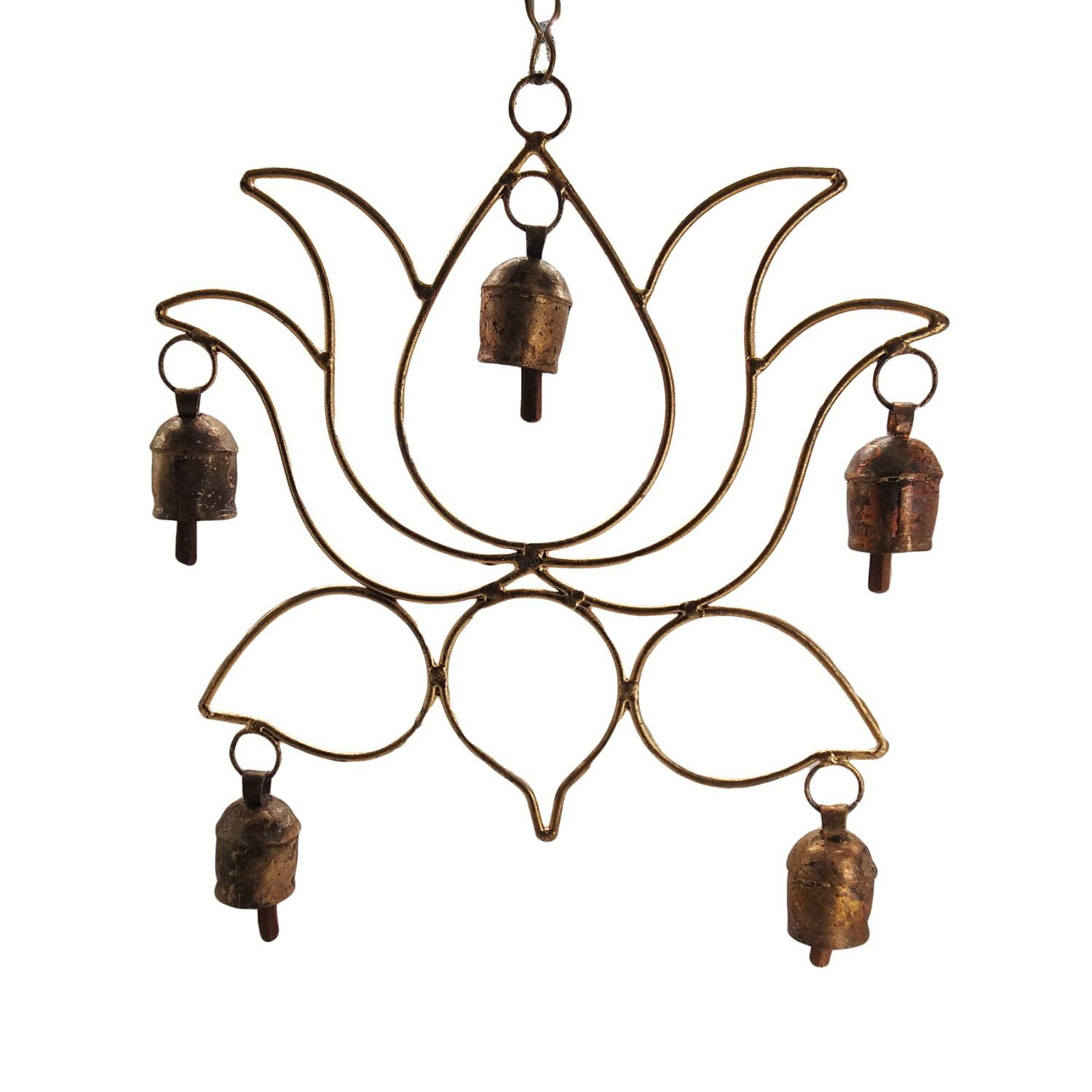 India Meets India Vintage Handmade Brass Wind Chime Hangings Antique Distressed Finish by Indian Artisans (5 Bells)