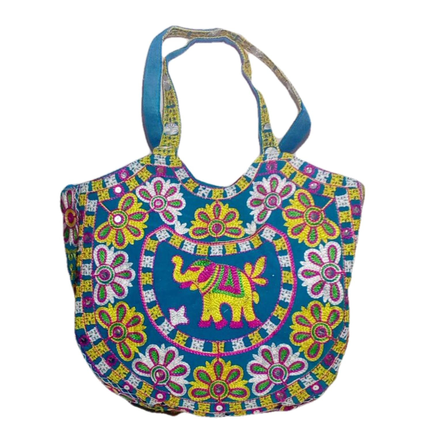 Handmade Excellent Sky Blue Genuine Shoulder Bag  with embroidery work  by Women Self Help Groups of Rajasthan