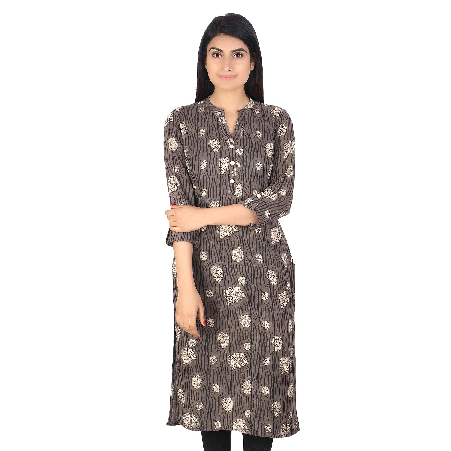 Designer Grey block printed khadi cotton long kurti