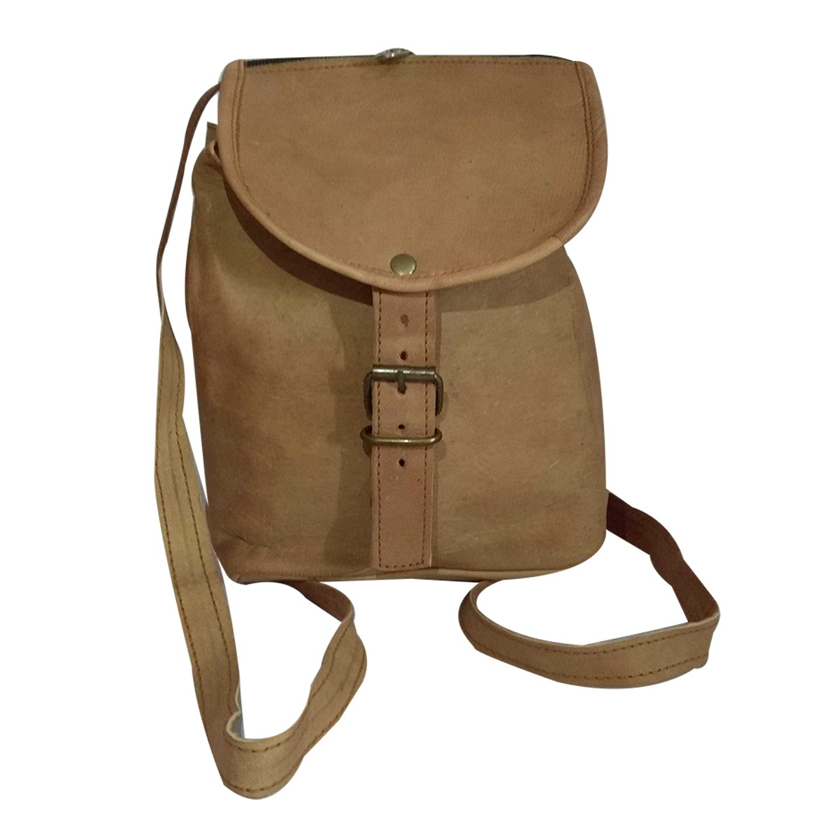 Handmade Beige Genuine Leather Vintage Backpack by Rural Artisans