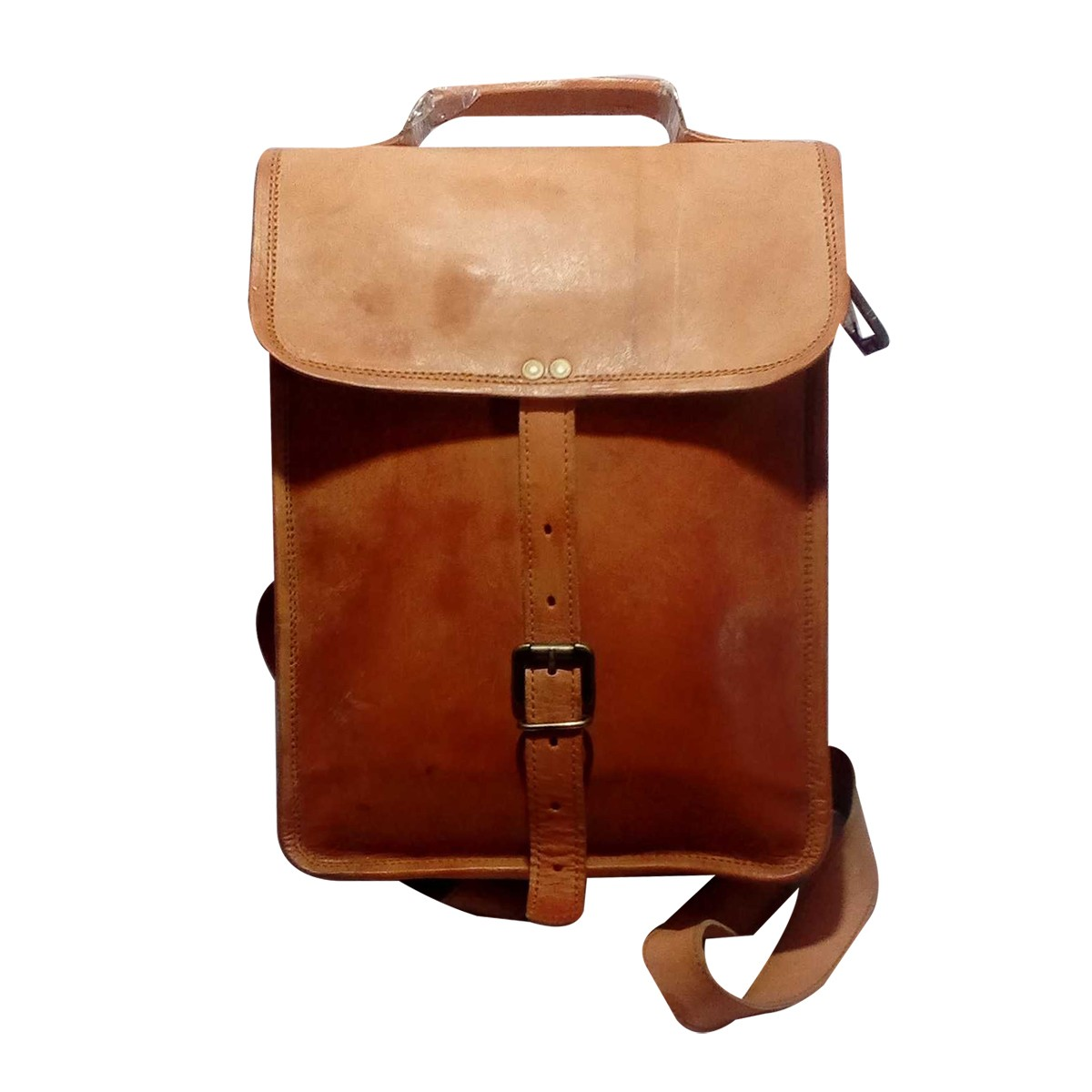 Handmade Brown Genuine Leather Vintage Backpack by Rural Artisans