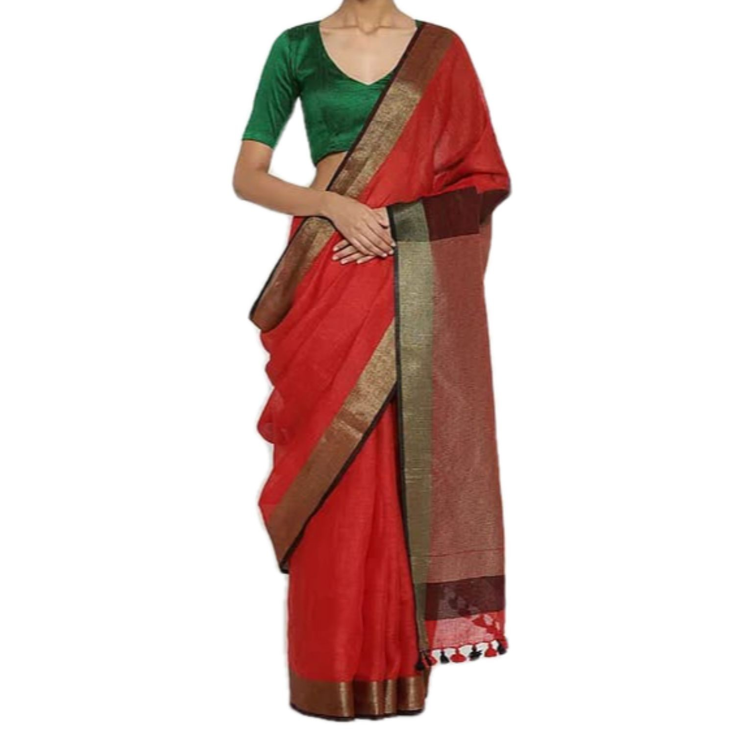 Exclusive Ethnic Indian Women's Bhagalpuri Handloom Cotton linen saree with Gold border with beautifully decorate soft tussels By Weaver'S Of Bhagalpur Bihar
