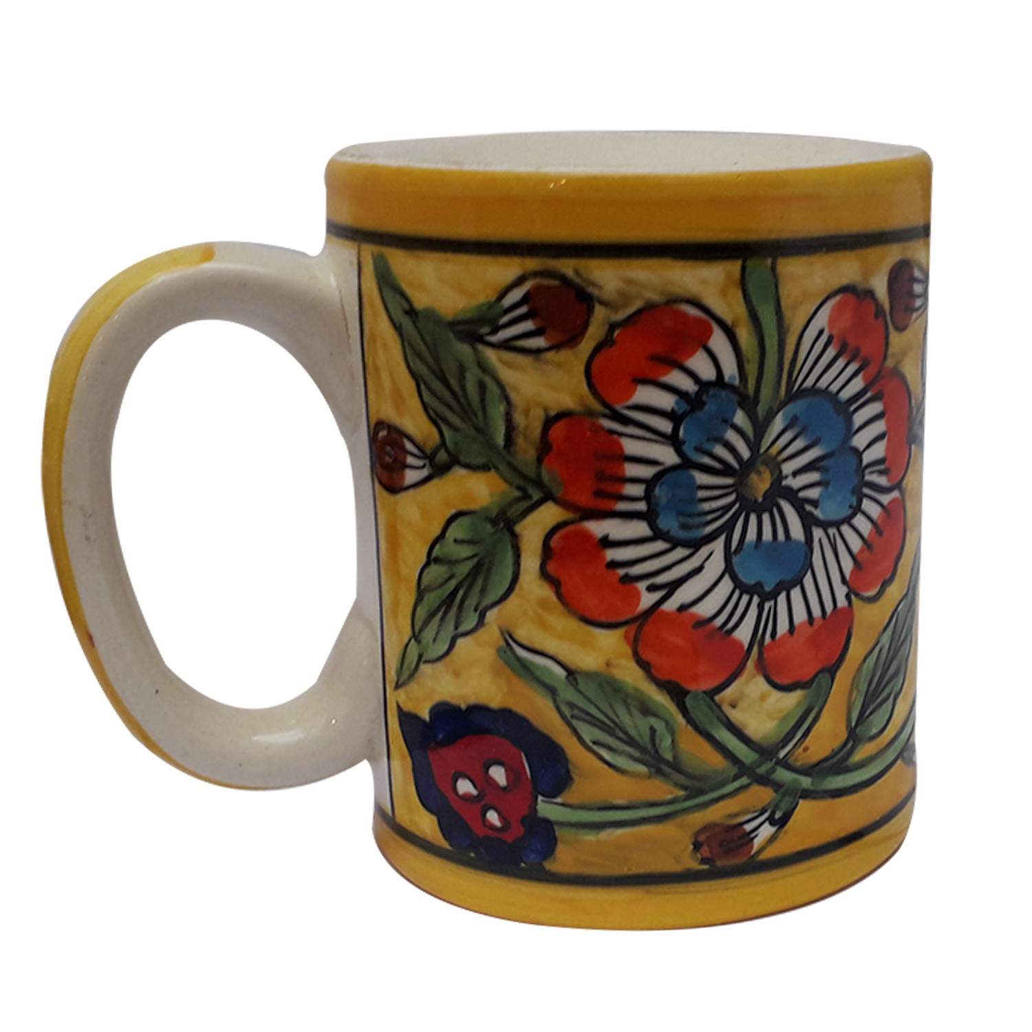 Exclusive Handmade Khurja Pottery Yellow Mugs  Set of 2 by Awarded Artisans