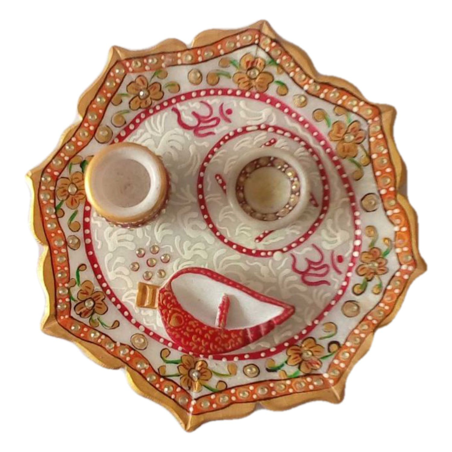 Handicraft Store Auscipious Pooja Thali with Peacock Design and Shub Labh Must for Indian Holy Festivals 8 Inches in Diameter Metal Holy Decorated Tradition Pooja Thali