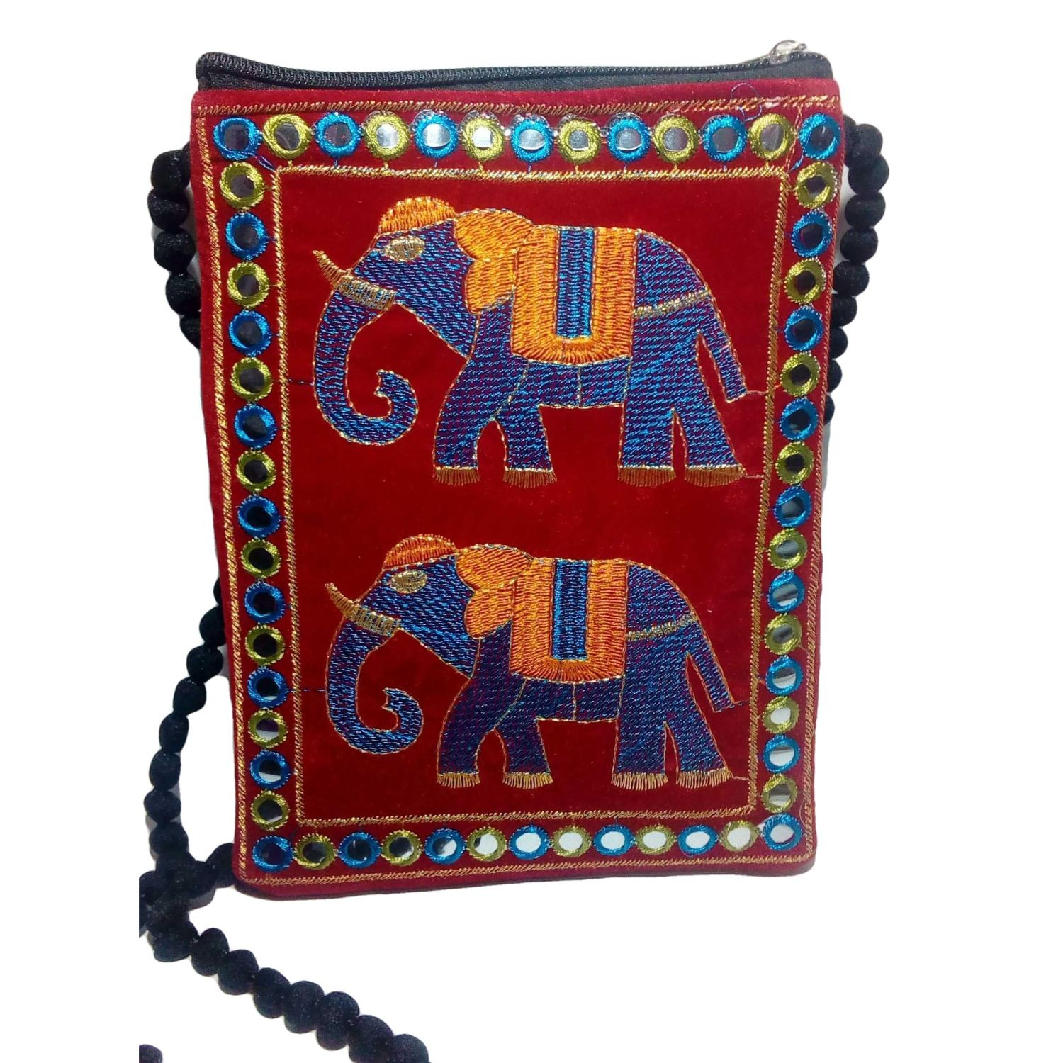 Handmade Excellent Red Genuine Sling Bag with embroidery work  by Women Self Help Groups of Rajasthan