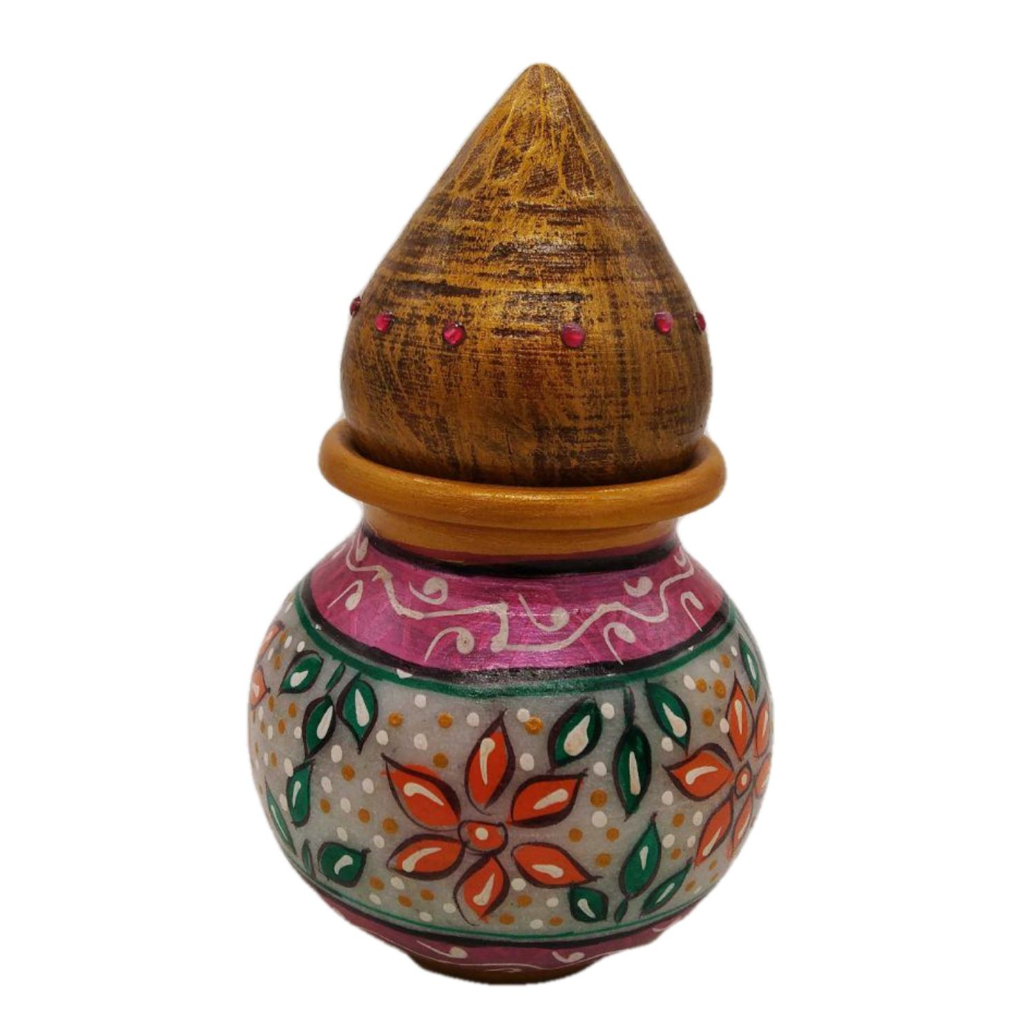 India Meets India Handicraft Marble Kalash with Nariyal Statue, Kalash with Nariyal Showpiece Home Décor, Best Gifting Made By Awarded Indian Artisan